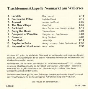 CD_Musikgenuss_Enjoy_the_Music_hinten, Aufnahmen, Musikgenuss, Enjoy the Music, Neumarkt am Wallersee, Traditionelle und moderne Blasmusik